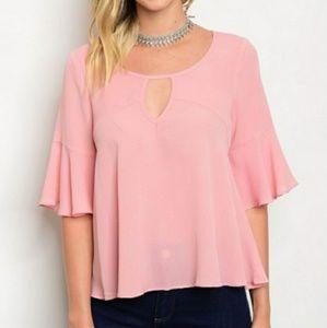 Elegant Pink Chiffon Blouse